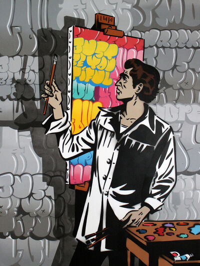 Rich Simmons, 'Rich Simmons, The Graffiti Artist (color artist, greyscale graffiti version)', 2017