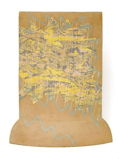 Felicity Aylieff, 'an earthenware and agate inlaid vase, c.1985, with painted zigzag motifs', 1985