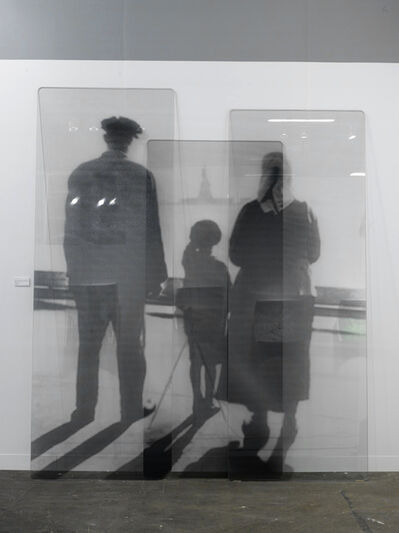 JR, 'Migrants, after An immigrant family views the Statue of Liberty from the Ellis Island Immigration Station dock, courtesy of National Park Service, Statue of Liberty National Monument, glass panels, 2018', 2018