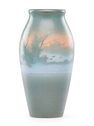 Rookwood Pottery, 'Banded Scenic Vellum vase with birds in flight', 1910