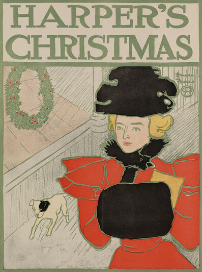 Edward Penfield, 'Harper's Christmas - Woman and Dog ', 1896