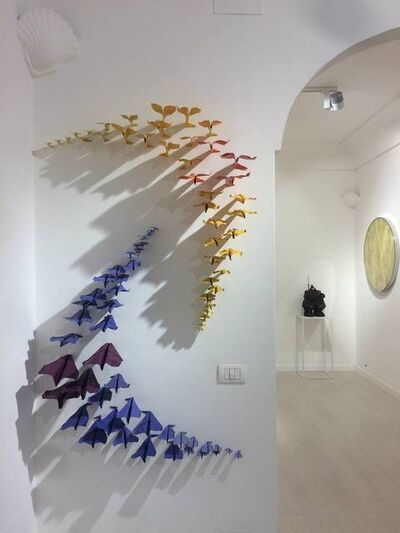 Daniele Sigalot, '85 paper planes simultaneously hitting the wall with geometrical order'