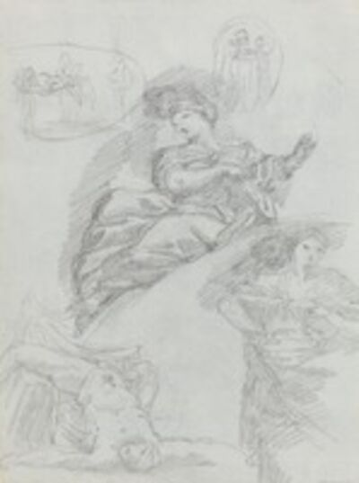 Anicet-Charles-Gabriel Lemonnier, 'Studies of Figures [verso]'