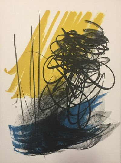 Hans Hartung, 'Abstract Composition - Signs on Yellow', 1975