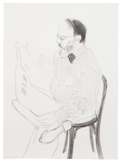 David Hockney, 'Henry Reading the Newspaper from Friends', 1976