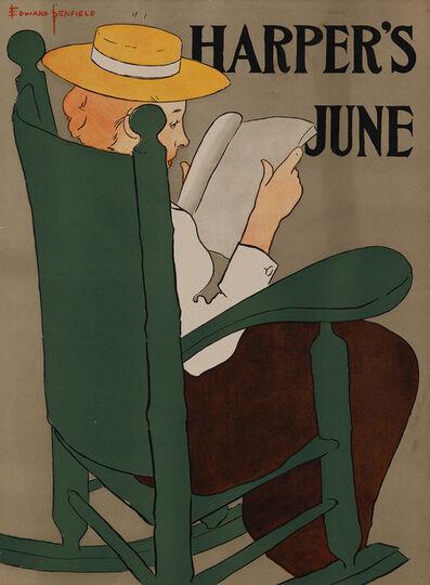 Edward Penfield, 'Harper's June 1896 - Woman Reading in Rocking Chair', 1896