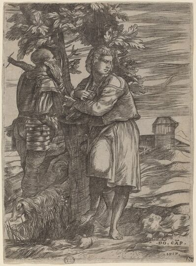 Domenico Campagnola, 'The Shepherd and the Old Warrior', 1517