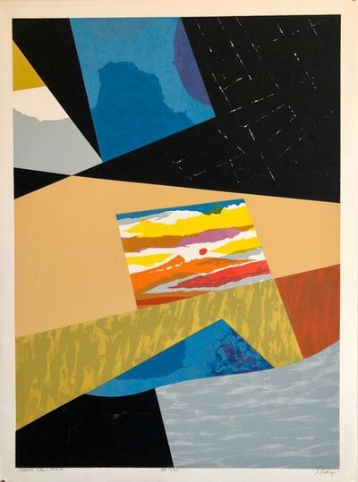 """Seong Moy, ' Chinese American Modernist Abstract """"Black Sky"""" Color Lithograph', 1980-1989"""