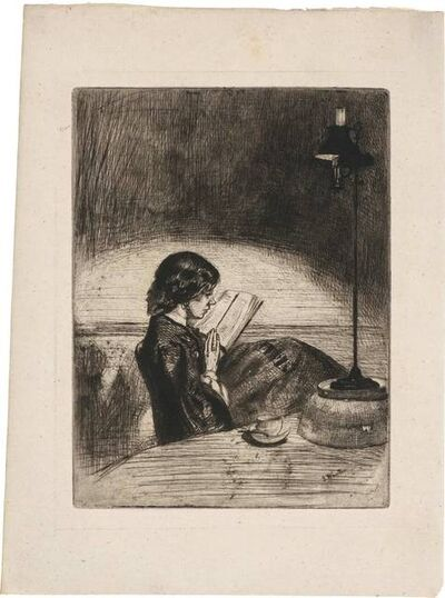 James Abbott McNeill Whistler, 'READING BY LAMPLIGHT (KENNEDY 32; GLASGOW 37)', 1859