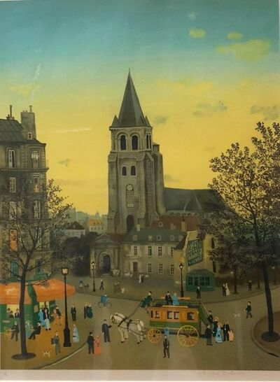 Michel Delacroix, 'Hand signed Folk Art Naive lithograph on Arches paper Paris Evening Cafe Scene', 20th Century