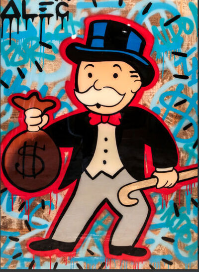 Alec Monopoly, 'Monopoly holding Money bag-Red$ Graffiti ', 2017