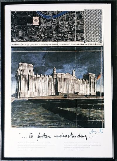 Christo, 'Wrapped Reichstag for Daimler-Benz Award of Excellence (Hand signed by Christo in blue wax crayon)', 1994