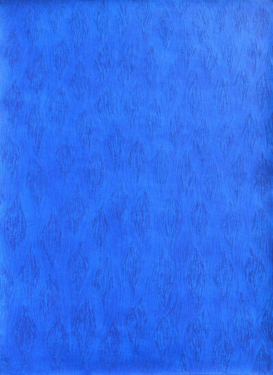 Mohammed Kazem, 'Acrylic on Scratched Paper (Blue)', 2008