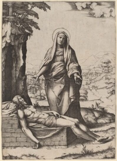 Marcantonio Raimondi after Raphael, 'The Lamentation of the Virgin', 1510