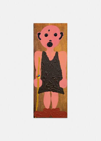 Philipp Schwalb, 'Nakki (Naturgläubige/Animistin/1.Frau) mit Gegen-die-Kultur (geweihtes Fellkleid,  Lederschuhe, Golduhrstab), ', 2015