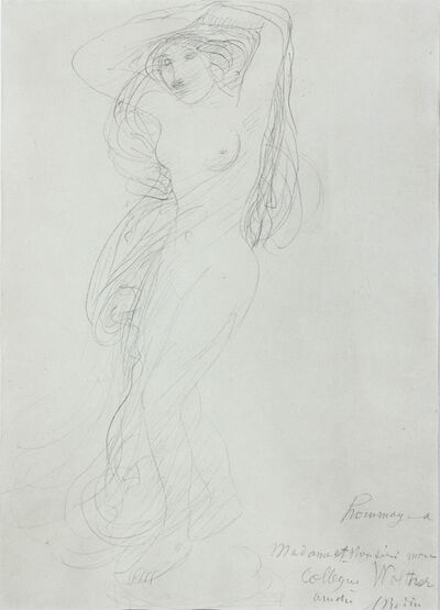 Auguste Rodin, 'Female Nude with Arms Raised Posed on a Pedestal', ca. 1900