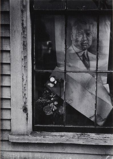Walker Evans, 'Flowers and Poster of Herbert Hoover in House Window, Wellfleet, Massachusetts', 1931-printed 1971
