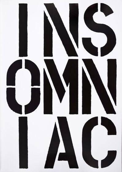 Christopher Wool, 'Christopher Wool, INSOMNIAC, screenprint, signed, 1989', 1989