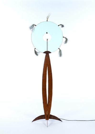 Alex Locadia, 'Floor lamp in cedar, metal, glass and horses hair', vers 1980