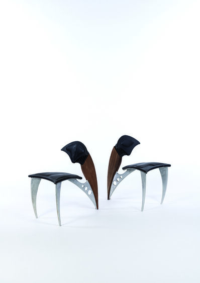 Alex Locadia, 'Pair of chairs in steel, leather and wood', vers 1980