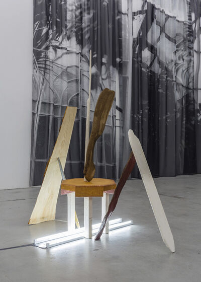Max Ockborn, 'Oak in the shape of water, a table in leather, a stick stuck in a fleeting motion and materials pretending to be signs for information', 2014