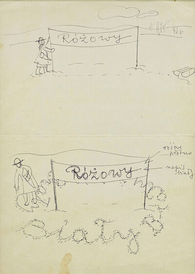 """Maria Pinińska-Bereś, 'Two-sided sketch with description of the performace """"Banner"""" (Transparent)', 1980"""