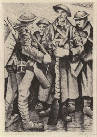 Christopher Richard Wynne Nevinson, 'A Group of Soldiers', 1917