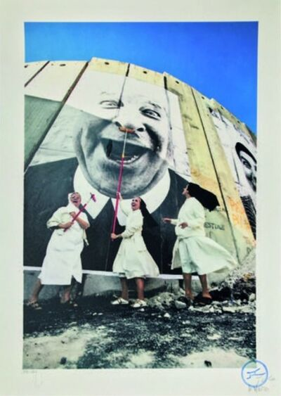 JR, '28 Millimètres, Face 2 Face, Nuns in action, separation wall, security fence, Palestinian side, Bethlehem', 2007
