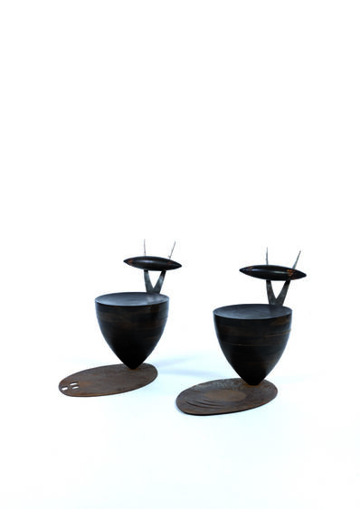 Alex Locadia, 'Pair of chairs in steel and wood', vers 1980