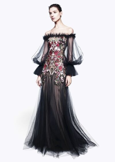 Alexander McQueen, 'OFF THE SHOULDER FLORAL EMBROIDERED GOWN', pre-fall 2012