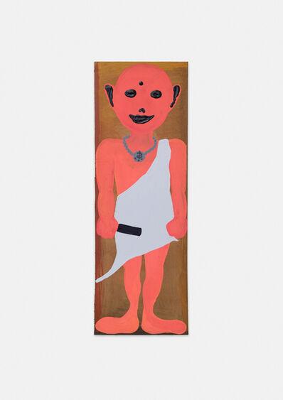 Philipp Schwalb, 'Nakki (Pügän) mit Gegen-die-Kultur (Silberkette mit Identifikationssymbol, heiliger Olympiastab, Silvergewand)', 2015