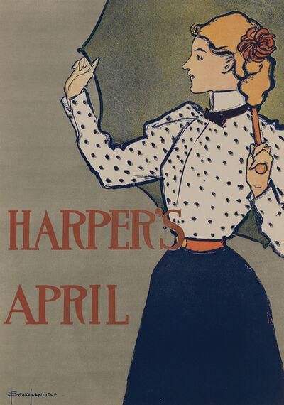 Edward Penfield, 'Harper's April 1897 - Woman with Umbrella', 1897
