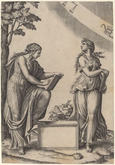 Marcantonio Raimondi after Raphael, 'Two Women with the Zodiac'
