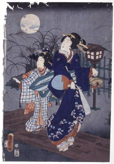 Utagawa Kunisada II, 'Given Title: A Plank Bridge on A Late Summer Evening', 1864 (Rat)-6th month