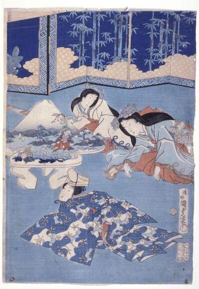 Utagawa Kunisada II, 'Welcoming Spring with A Gathering of Flowers (Hana Soroi Haru No Taimen)', 1868-12th month