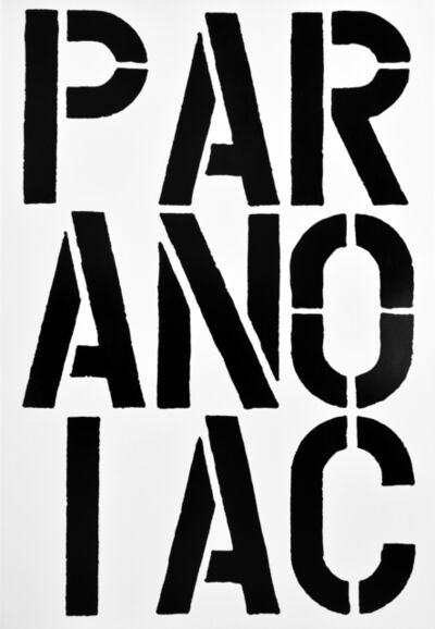 Christopher Wool, 'PARANOIAC, page from the Black Book', 1989