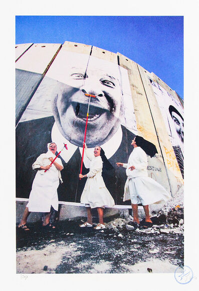 JR, '28 Millimètres : Face 2 Face, Nuns in action, Separation wall; Security fence, Palestinian side, Bethlehem, 2007', 2018