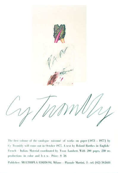 Cy Twombly, 'Cy Twombly's Vintage Poster', 1977