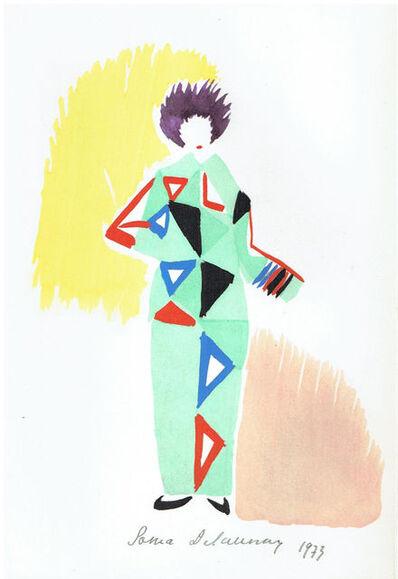"""Sonia Delaunay, '""""Projet De Pyjame Pour Un Bal Porte Par R. Delauney 1923"""" ', hand-signed in 1973"""