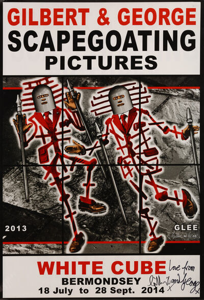 Gilbert & George, 'a collection of 5 exhibition posters from Scapegoating Pictures, White Cube, Bermondsey', 2014