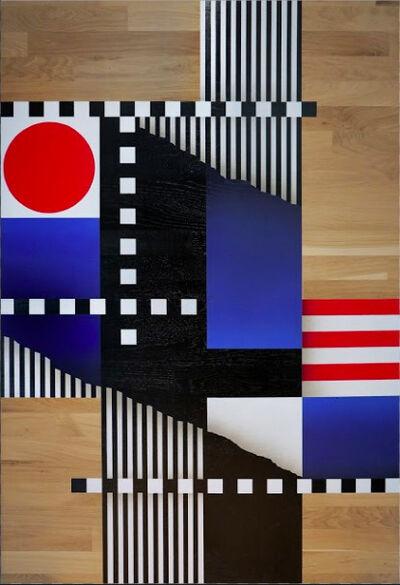 L'outsider, 'Composition géométrique drapeaux et lignes #1', 2017