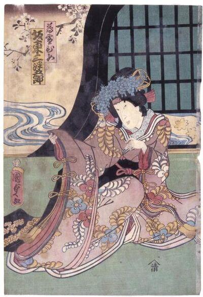 Utagawa Kunisada II, 'Bandō Mitsugorō Vi in the Role of Usuyukihime', 1863-8th month
