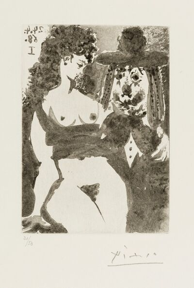 Pablo Picasso, '347 Series: Old Clown with Seductive Nude (Bloch 1529)', 1968