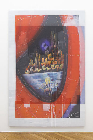 Ned Vena, 'Manhattan Skyline with WTC1 Reflected in the Eye of Spiderman (1)', 2017