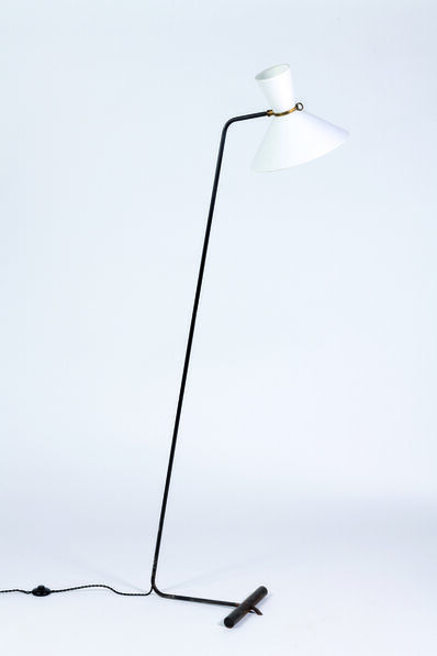 Robert Mathieu, 'floorlamp in alumnium cast and brass, shade in new fabric', 1950