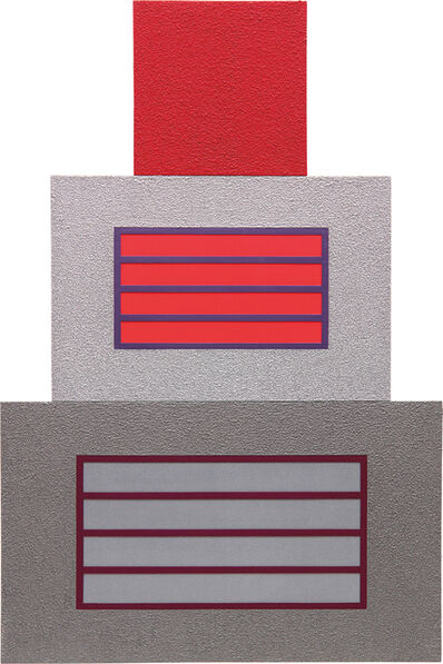 Peter Halley, 'Red Cell Over Two Horizontal Prisons', 2007