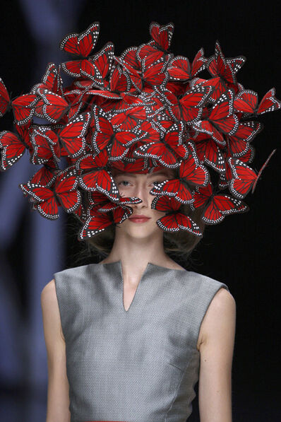 Alexander McQueen, 'Butterfly headdress of hand-painted turkey feathers ', La Dame Bleue-S/S 2008