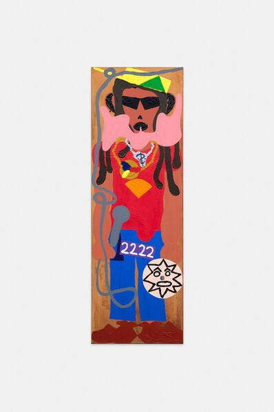 Philipp Schwalb, 'Nakki (rAstAfArAi bAhAi bAmbAAtAA) mit Gegen-die-Kultur (Silberkette mit Identifikationssymbol, Lederschuhe, Dreadlocks, geweihtes Microphon, Sprache, heiliger Tonträger mit Glaubenssymbol (Planet Rock), Geldschein (2222), zukünftige Sonnenbrille, Golduhr) in religiöz-blaurotgelber Kleidung', 2015