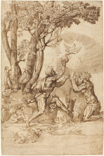 Domenico Campagnola, 'The Hermits Saint Paul and Saint Anthony Receiving Bread from a Dove', ca. 1530