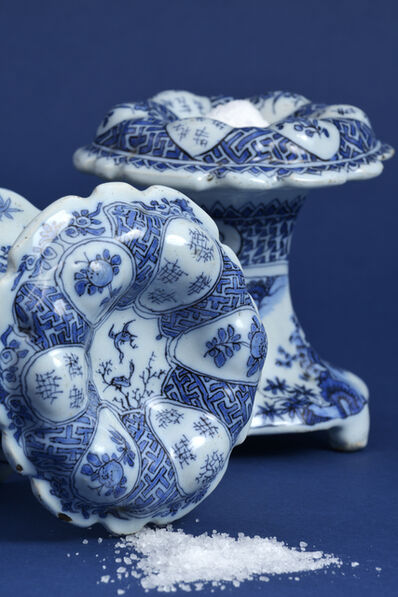 Delftware, 'Two Blue and White Circular Salt Cellars', ca. 1690